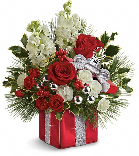 Teleflora's Wrapped In Joy Bouquet in Red Deer AB, Something Country Flowers and Gifts