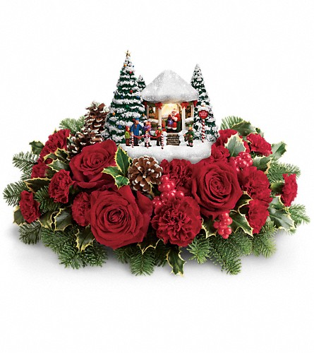 Thomas Kinkade's Visiting Santa Bouquet in Athol MA, Macmannis Florist & Greenhouses