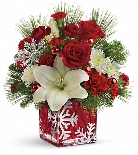 Teleflora's Snowflake Wonder Bouquet in Santa Monica CA, Edelweiss Flower Boutique