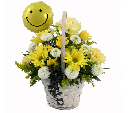 Smiley Face Basket Bouquet in Southfield MI, Thrifty Florist