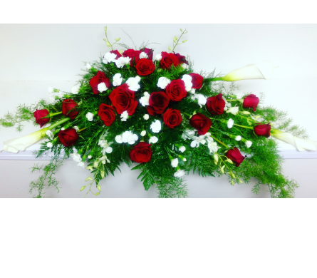 Pure White with 24 Red Roses Casket Spray in Wyoming MI, Wyoming Stuyvesant Floral
