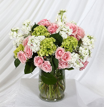 Vase of Spray Roses, Stock, Hydrangea in Southampton PA, Domenic Graziano Flowers