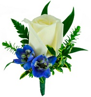 White and Blue Boutonniere in Perrysburg & Toledo OH - Ann Arbor MI OH, Ken's Flower Shops