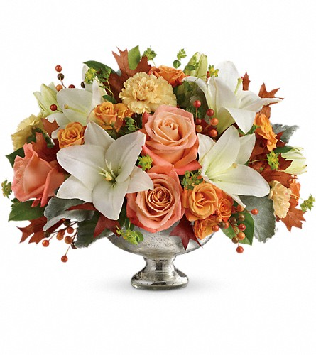 Teleflora's Harvest Shimmer Centerpiece in Ypsilanti MI, Enchanted Florist of Ypsilanti MI