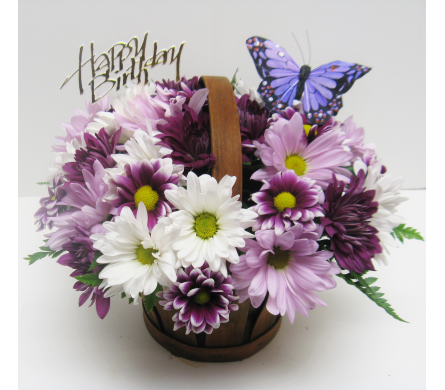 Hy Birthday Purple Erfly Basket In Waverly Ny Jayne S Flower