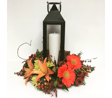 Tall Black Candle Lantern with Floral Centerpiece in Wyoming MI, Wyoming Stuyvesant Floral
