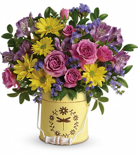 Teleflora's Blooming Pail Bouquet in Flint MI, Curtis Flower Shop