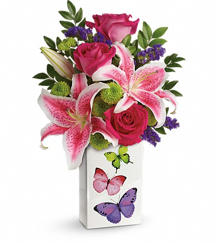 Teleflora's Brilliant Butterflies Bouquet in McHenry IL, Locker's Flowers, Greenhouse & Gifts