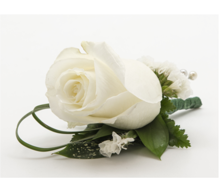 view larger white rose boutonniere