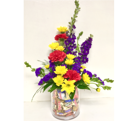 Candy Galore Fresh Arrangement - One-Sided in Wyoming MI, Wyoming Stuyvesant Floral