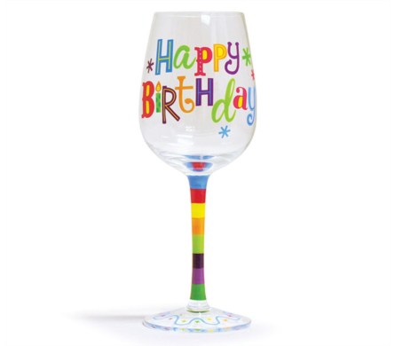 Bright Birthday Wine Glass in Princeton, Plainsboro, & Trenton NJ, Monday Morning Flower and Balloon Co.