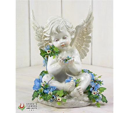 Angel Holding Bird w/Flowers in Indianapolis IN, Steve's Flowers & Gifts