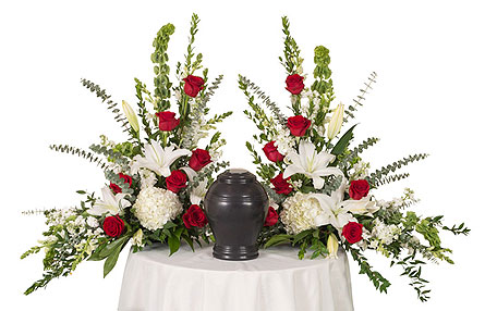 Red & White Urn Arrangement in Dallas TX, In Bloom Flowers, Gifts and More