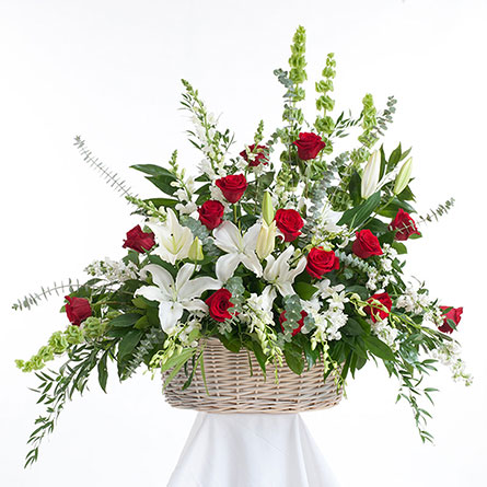 Red & White Sympathy Basket in Dallas TX, In Bloom Flowers, Gifts and More
