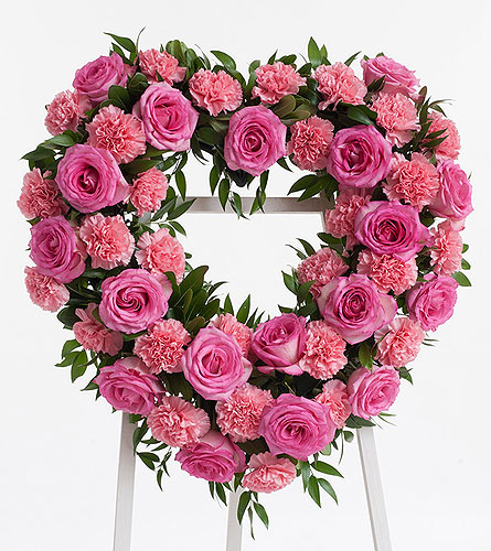 Roses & Carnations Heart in Dallas TX, In Bloom Flowers, Gifts and More
