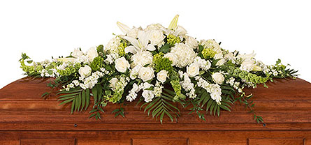 Elegant White Casket Spray in Dallas TX, In Bloom Flowers, Gifts and More