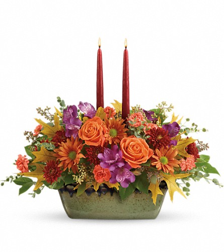 Teleflora's Country Sunrise Centerpiece in Brewster NY, The Brewster Flower Garden