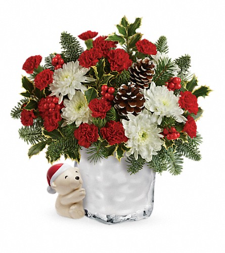 Send a Hug Bear Buddy Bouquet by Teleflora in Lexington KY, Oram's Florist LLC