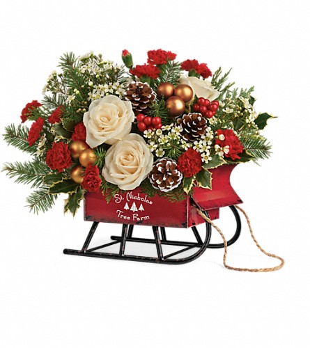 Teleflora's Joyful Sleigh Bouquet in Denison TX, Judy's Flower Shoppe