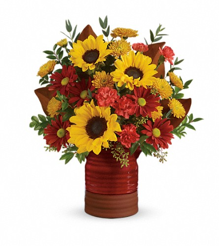 Teleflora's Sunshine Crock Bouquet in Avon OH, The Hen 'N The Ivy