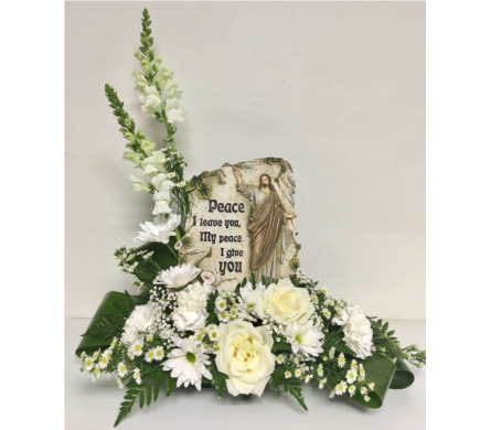 Peace I Leave You... Plaque in White Arrangement in Wyoming MI, Wyoming Stuyvesant Floral