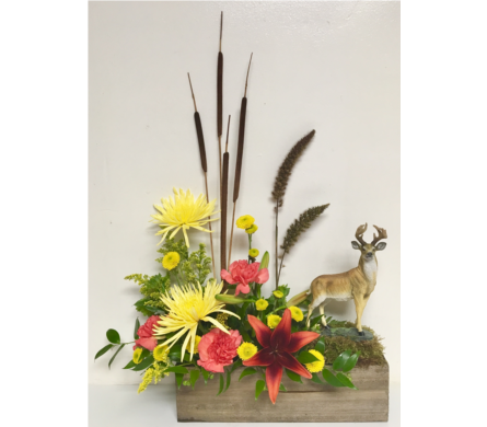 Keepsake Deer in Fresh Floral Arrangement in Wyoming MI, Wyoming Stuyvesant Floral