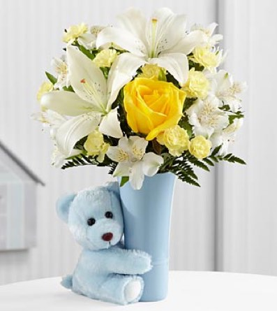 The Baby Boy Big Hug® Bouquet - VASE INCLUDED in Sapulpa OK, Neal & Jean's Flowers & Gifts, Inc.