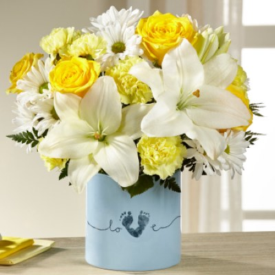 The Tiny Miracle™ New Baby Boy Bouquet - VASE INCL in Sapulpa OK, Neal & Jean's Flowers & Gifts, Inc.