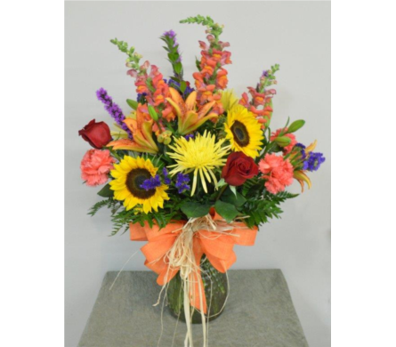 Fall Glass Vase Arrangement in Utica NY, Chester's Flower Shop And Greenhouses