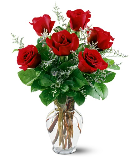 6 Red Roses in Charlotte MI, B's Floral, Inc.