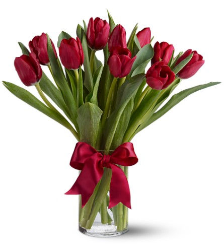 Teleflora's Radiantly Red Tulips in Bakersfield CA, White Oaks Florist