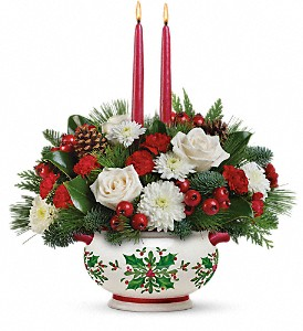 Teleflora's Holly Days Centerpiece in Redwood City CA, Redwood City Florist