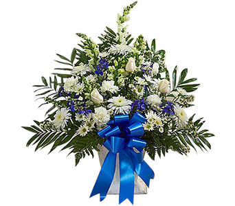 Tribute Floor Basket Arrangement (M) Blue & White